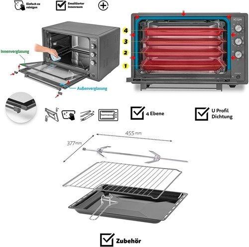 Mini piekarnik elektryczny ICQN IQM7051N03 70l